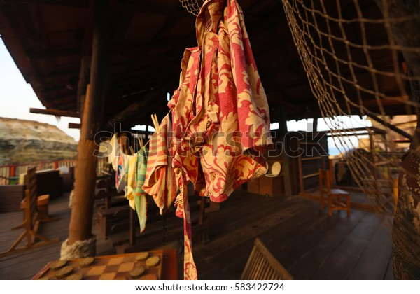 clothes hanging on a rope to dry