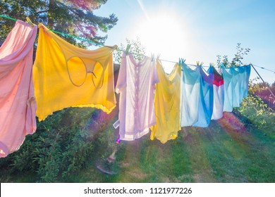 Clothes hanging on a washing line to dry.