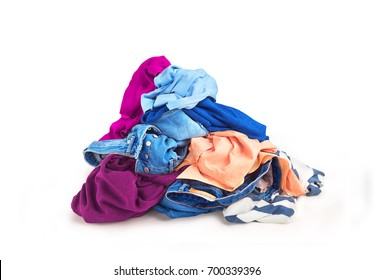 Clothes heap.On a white background there is a large pile of sketched clothes.