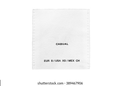 Clothes label lettered casual on white background