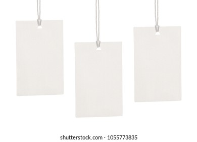 Clothes label tag on cloth background blank white branding template mockup