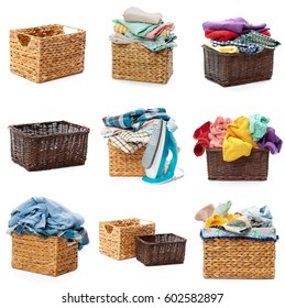Clothes in a laundry wooden basket isolated on white background. collage