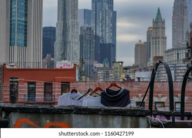 Clothes line drying on a New York City rooftop.