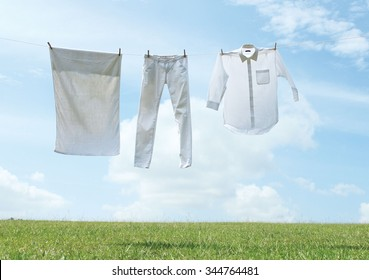 A clothes line of laundry.
