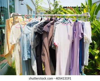 Clothes line in the sunshine.