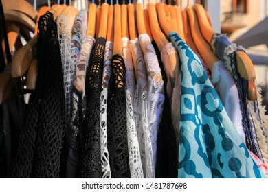clothes on the rack for sale outdoor