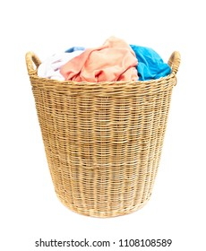Clothes on wicker baskets for washing preparations whit white background, housework concept