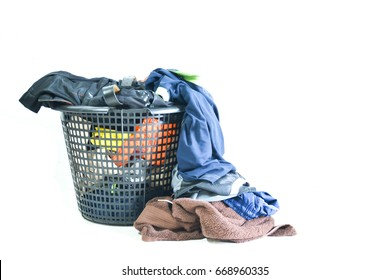 Clothes overflow basket on a white background