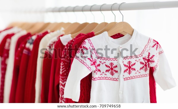 Clothes Rack Red Christmas Knit Wear Stock Photo Edit Now 709749658