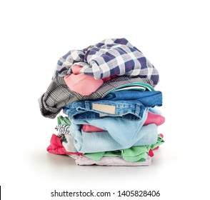 Clothes stack over white background
