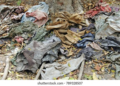 Clothes still lie in the Cambodian Killing Fields as a memorial to the 8985 innocent victims.
