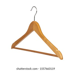 Clothes wooden hanger isolated on white background
