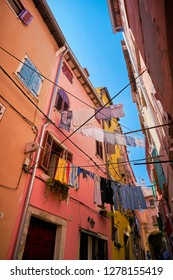 Clothesline in the historic old town of Rovinj in Croatia