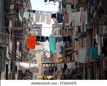 Clothesline. Street life in Naples, Italy.