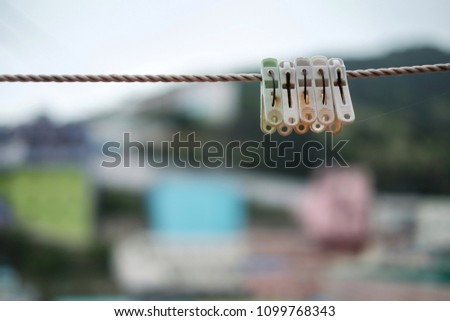 Clothespin Hanging On Wire Drying Clothes Stock Photo Edit Now