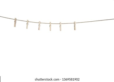 Clothespins on Clothesline Isolated