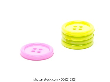 clothing buttons on white background