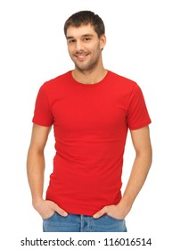 clothing design concept - bright picture of handsome man in blank red shirt