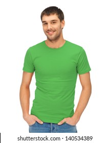 clothing design concept - handsome man in blank green t-shirt