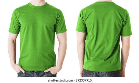 3a074af9c clothing design concept - man in blank green t-shirt, front and back view