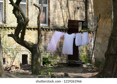 Clothing drying outside on a clothesline