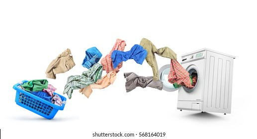Clothing flies out of the basket into the washing machine isolated on white background