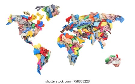 Clothing in the form of a world map isolated on white background