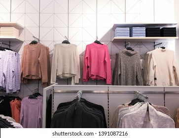 clothing ,jacket, set of on the racks in clothing store