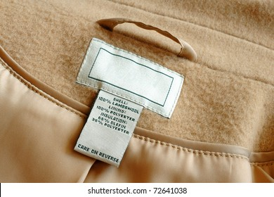 Clothing label inside of wool jacket