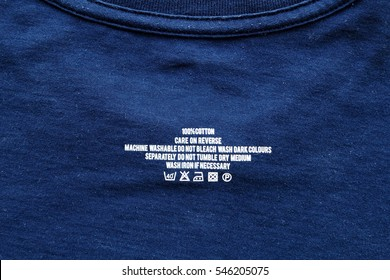 Clothing label on t-shirt