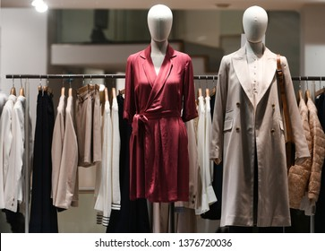 Clothing on mannequins in a store in Paris, March 2019.