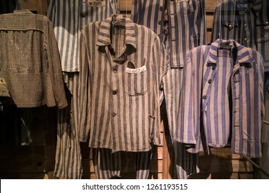Clothing prisoners concentration camps in which were destroyed Jews and prisoners of war during world war II.
