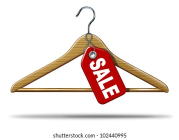 Clothing Sale with a clothing hanger and a red price tag hanging as a symbol of retail shopping of merchandise and an icon of the commercial textile industry business a white background.