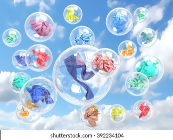 clothing in soap bubbles on sky background concept of washing
