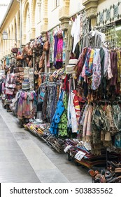 Clothing and souvenirs on arab market. Street market