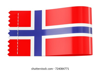 Clothing tag, label with flag of Norway. 3D rendering isolated on white background