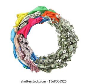 Clothing turns into money and back isolated on white background. 3d illustration
