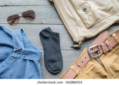 cloths  on wooden background