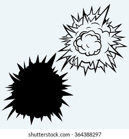 Cloud after the explosion. Isolated on blue background. Raster version