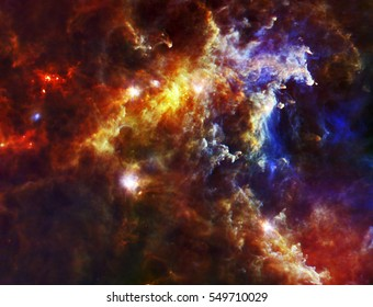 The cloud associated with the Rosette Nebula, a stellar nursery about 5,000 light-years from Earth in the Monoceros, or Unicorn, constellation, Elements of this image are furnished by NASA.