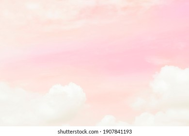 Cloud background in pastel baby pink color