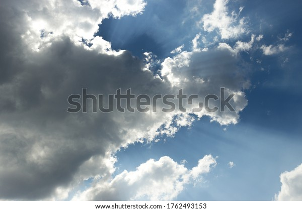 Cloud background with sunshine sky