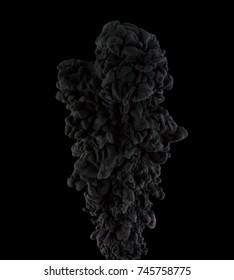The cloud of black ink in the dark water.