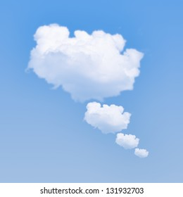 Cloud bubble concept with clouds on blue sky