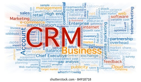 Cloud of business words centered in the CRM software concept. Background isolated on white with a blurred zoom over the words.