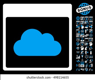 Cloud Calendar Page icon with bonus calendar and time management icon set. Glyph illustration style is flat iconic symbols, blue and white, black background.