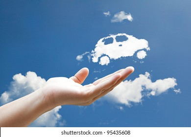Cloud car flying from hand  to sky