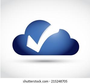 cloud check mark illustration design over a white background