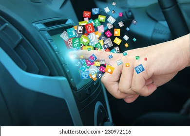Cloud of colorful application icon social media networking transportation and vehicle concept idea