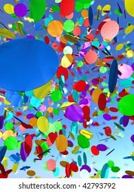 A cloud of colourful confetti